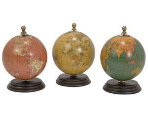 """Komplet 3 dekoracyjnych globusów """"Wood"""""""