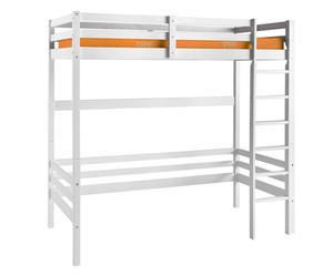 """Łóżko wysokie z drabinką i materacem """"Anne"""", biało-pomarańczowe"""