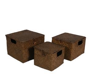Zestaw 3 kwadratowych koszyków, brązowy warkocz