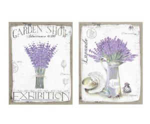 """Komplet dwóch dekoracyjnych obrazków """"Lavender"""", wielokolorowy"""