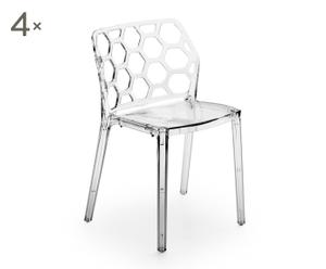 """Komplet 4 krzeseł """"Dadri"""", przezroczysty"""