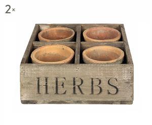 """Zestaw 2 skrzynek z osłonkami na doniczki """"Herbs"""""""