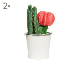 """Zestaw 2 sztucznych kwiatów w doniczkach """"Cactus III"""""""