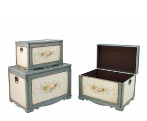 Set de 3 baúles de madera de abedul, DM y chapada – multicolor