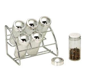 """Zestaw 6 pojemników na przyprawy w stojaku """"Shake"""""""