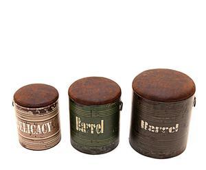 """Komplet 3 pufów """"Barrel II"""""""