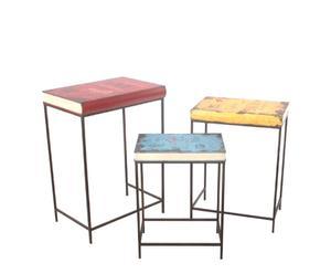 """Komplet 3 stołków """"Kids"""", błękitno-czerwono-żółty"""