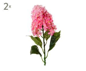 """Zestaw 2 sztucznych kwiatów """"Hortensia"""", różowy"""