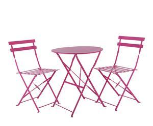 """Stół i 2 krzesła """"Garden"""", różowe"""