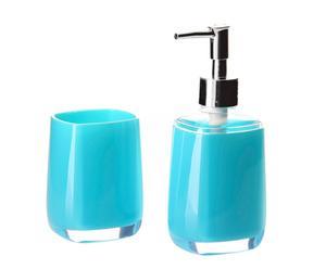 """Dozownik do mydła w płynie i kubek na szczoteczki """"Mono"""", niebieskie"""