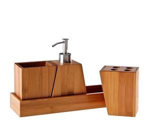 """Zestaw akcesoriów łazienkowych na tacy """"Bamboo"""""""