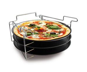 3 plaques à pizza et support, acier – Ø30