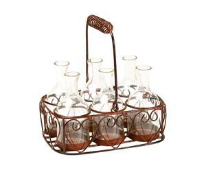 """Komplet 6 świeczników w koszyku """"Bouteille"""""""