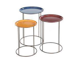 Zestaw 3 stolików pomocniczych, czerwony i pomarańczowy i niebieski