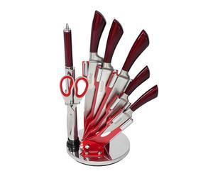 """Komplet 5 noży, nożyczki i ostrzałka w bloku """"Socle"""", czerwone"""