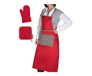 """Komplet kuchenny """"Simple"""", czerwono-szary"""
