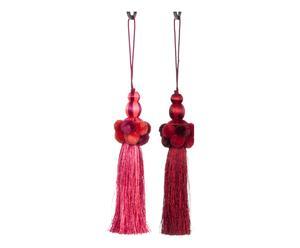 2 Embrasses coton et lin, rouge et rose - L28