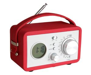 """Radiobudzik """"Vintage"""", czerwono-biały"""