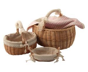 """Komplet 2 koszy piknikowych z koszyczkiem na chleb """"Quad"""""""