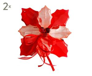 set di 2 stelle di natale decorative Poinsettia - 12x12x5 cm