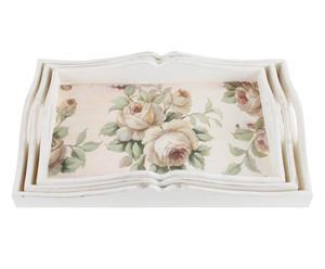 """Komplet 3 tac """"Vintage Roses"""" 48 x 31 cm"""