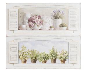 """Zestaw 2 płócien dekoracyjnych """"Romantic Window"""" 80 x 35 cm"""