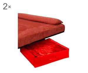 """Zestaw 2 organizerów pod łóżko """"Color"""", czerwony"""