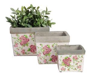 """Zestaw 3 prostokątnych doniczek """"Ortensia"""", biały w różowe kwiaty"""