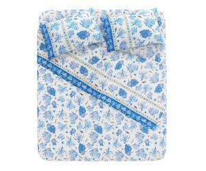 """Pościel z prześcieradłem """"Bali"""", niebieska"""