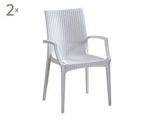 """Zestaw 2 krzeseł z podłokietnikami """"Minerva"""", biały"""