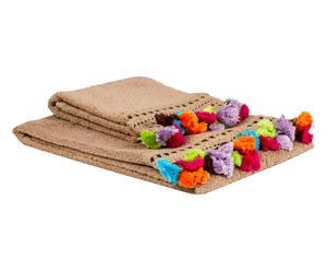 """Komplet 2 ręczników """"Pompons"""", beżowy"""