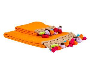 """Komplet 2 ręczników """"Pompons"""", pomarańczowy"""