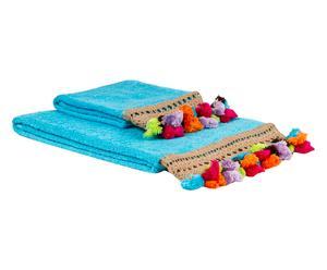 """Komplet 2 ręczników """"Pompons"""", błękitny"""