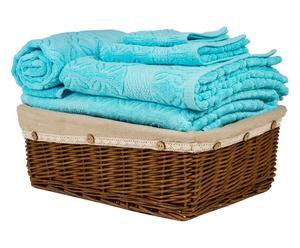 """Komplet 4 ręczników i chodnik łazienkowy z koszem """"Classic"""", błękitny"""