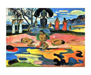 """Płótno dekoracyjne na blejtramie """"Dzień bogów"""" Paula Gauguina, 60 x 2 x 80 cm"""