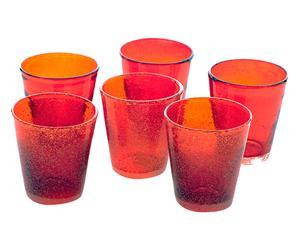 Set di 6 bicchieri in vetro soffiato Surf rosso - da 300 ml