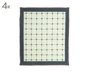 Set van 4 theedoeken Tiles, groen/zwart/grijs, 65 x 55 cm