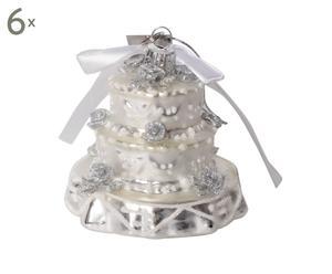 """Komplet 6 dekoracji """"Wedding CAke"""", wys. 9, Ø 9 cm"""