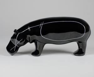 """Figurka porcelanowa """"Mały Hipopotam"""", czarno-biała"""