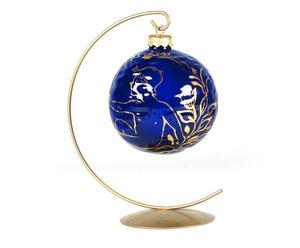 Bombka porcelanowa, kobaltowo-złota