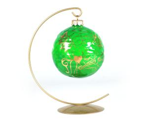 Bombka porcelanowa, zielono-złota