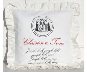 """Poduszka """"Christmas Home"""" z falbaną, biała"""
