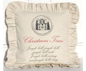"""Poduszka """"Christmas Home"""" z falbaną, beżowa"""