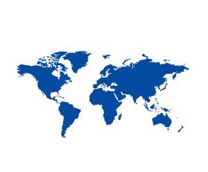 """Naklejka samoprzylepna """"Mapa świata"""" – niebieska"""