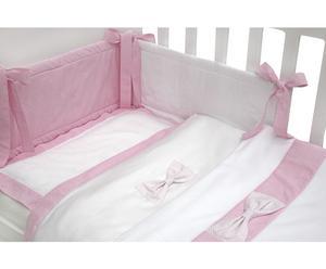 Kocyk z kokardką, biało-różowy