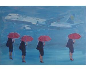 """Obraz akrylowy """"Samolot z 4 Czekającymi"""""""