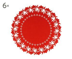 """Zestaw 6 mat stołowych """"Embroidery"""", czerwony"""
