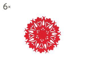 """Zestaw 6 podkładek """"Embroidery"""", czerwony"""