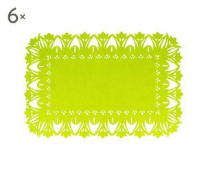 """Zestaw 6 mat stołowych """"Embroidery"""", limonkowy"""