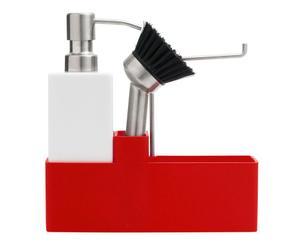 """Stojak z dozownikiem do mydła w płynie, szczotką i miejscem na zmywak """"Scandi"""", czerwony"""